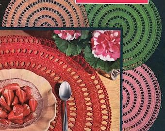 FREE SHIP Coats & Clark Book 315 1955 Mid Century Crochet Place Mat Doilies Kitchen Accessories Pineapple Starwheel Doily