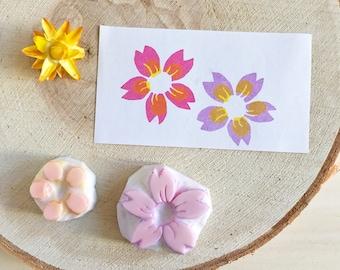 Hand carved rubber stamp, cherry blossom stamp, flower rubber stamp, sakura stamp, cherry blossom wedding, wedding floral decor, sakura