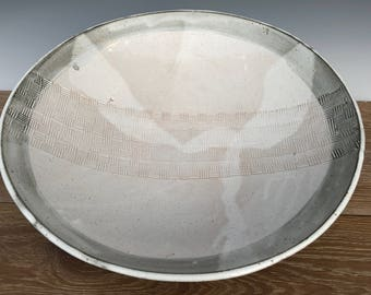 Large 15' Platter with Iron Red/Brown Rim