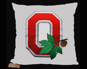 """Officially Licensed- Embroidered Pillow Cover - Ohio State/Buckeye - Fits 18""""x18"""" Insert- White - Graduation Gift-Home Decor (READY TO SHIP)"""