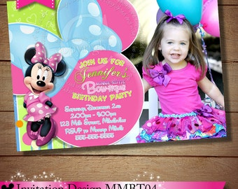 Minnie Mouse Bowtique Invitation, Minnie Mouse Bowtique, Minnie Mouse Boutique Invitation, Photo Invitation, Printable Bowtique Birthday