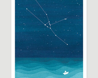 Watercolor painting Taurus zodiac constellation bull giclee print nautical wall decor starry night sky home teal art by VApinx