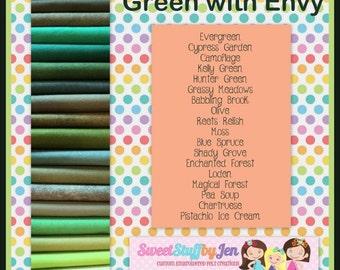 "Wool Felt Bundle-Green with Envy-Variety Pack-9x12"" Sheets Wool Felt-Craft Felt-Wholesale-Wool Blend Merino Felt"