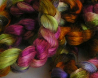 Silk Roving Top Fiber Sliver Mulberry cultivated MY FLOWER GARDEN PhatFiber Feature Supreme Quality HandPainted for Handspinning 2 oz