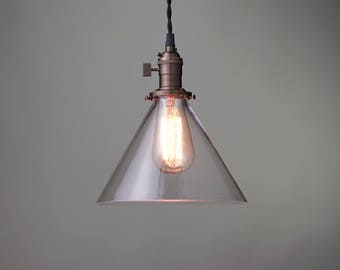 Edison Pendant Light - Glass Cone - Industrial Style Pendant - Hanging Light - Retro Pendant