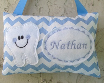 Tooth Fairy Pillow Blue Chevron Personalized