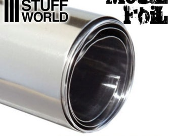 Flexible Metal Foil - Tin or Pewter foil - 10x45cm - embossment foil - diorama foil - hobby