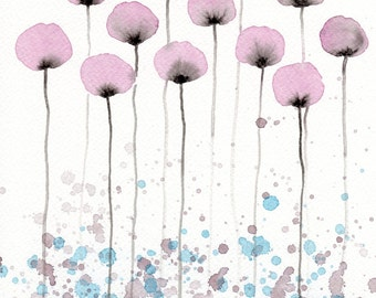 Watercolor Painting: Watercolor Flower Painting -- Art Print --  Hush -- Pink Flowers -- 11x14