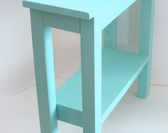 End Table, Narrow Side Table, Painted Furniture, Wood Table, Night Stand, Beach Cottage Decor Aqua Blue