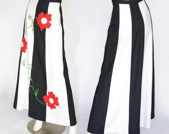 1970s Vintage Floral Pop Art Black & White Striped Linen Maxi Skirt Sz XXS XS