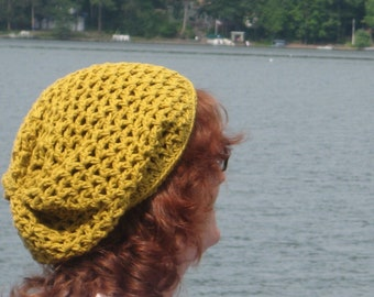 Gold Cotton Slouch Hand-Made Crocheted Hat. Ready to be Shipped