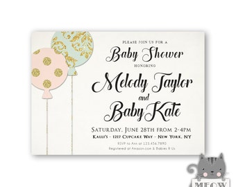 Balloon Baby Shower Invitations / Pink Blue Gold / Elegant Baby Invitations for a Girl / Printable Digital File or Printed Invitations 116