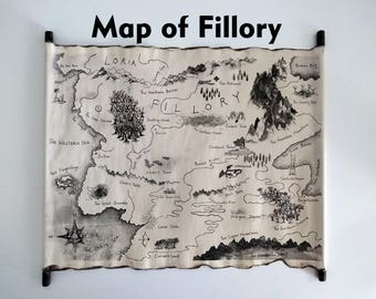 Map of Fillory, The Magicians Map, Quentin Coldwater Map Scroll by Land of Scrolls, The Magician King Map, Fillory and Further Map