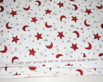 "Star & Moon Fabric ""Night"" by Phillip De Leon for Alexander Henry 1996 By The Yard Red White"