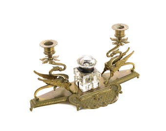 Exquisite Double Griffin brass Candleholders w/Crystal inkwell