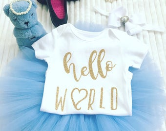 Newborn Girl Coming Home Outfit, Hello World Outfit, Take Baby Home Set, Baby Tutu Set, Take Home Outfit, Baby Going Home Outfit,