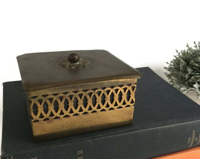 Vintage Decorative Brass Box with Etched Design