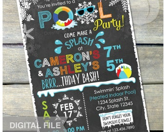 """Joint Winter Pool Birthday Party Chalkboard Invitation Snow Indoor Pool Party - Boy Girl Twins Siblings - DIGITAL Printable Invite - 5"""" x 7"""""""