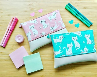 CATS pouch pink or Mint clutch fabric and faux leather clutch hand bag storage