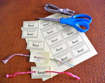 INSTANT DOWNLOAD - Birthday Friendship Bracelet Party Favor Card Printable - 20 Cards per Sheet