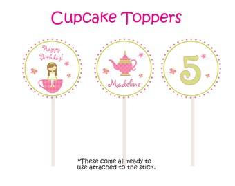 Tea Party Cupcake Toppers Tea Party  Tea Party Cupcake