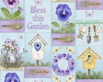 Henry Glass Pretty as A Pansy Fabric 1014