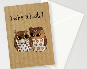 Owls 'you're a hoot' A6 Greetings Card