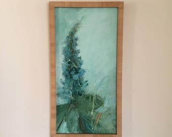 One Flower- Delphinium-FRAMED in Natural Wood Frame-   20 x 10 White and Aqua Gray - Blue Painted on Canvas Panel
