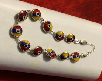 "Multi Colored, ""Evil Eyes"" Bracelet, 925 Silver"