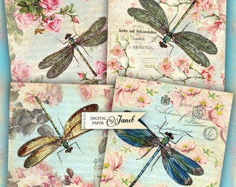 Dragonfly Coaster - 4 x 4 inch - set of 4 cards - Printable Download - Digital Collage Sheet