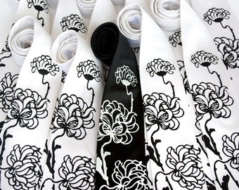 12 wedding silk neckties, groomsmen group package discount, matching screenprinted ties.