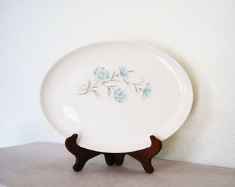 "Vintage Ever Yours Boutonniere Oval Serving Platter 13 3/4"" Floral Cornflowers Robin Blue Pink Flowers"