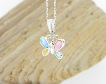 Sterling Silver Butterfly Necklace Mother of Pearl Necklace Silver Jewellery Mother of Pearl Pendant Gift for Her Anniversary Gift for Wife