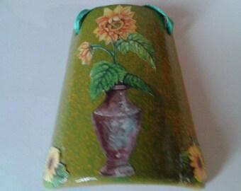 Ceramic tile, sunflowers vase, shingle decoupage, decoration to hang for kitchen gift idea