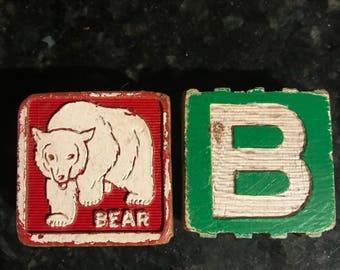 Refrigerator magnets vintage kitchen decor bears woodland creatures wooden childrens blocks vintage home decor