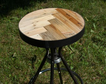 Round Leather Wrapped Reclaimed Wood Industrial Stool
