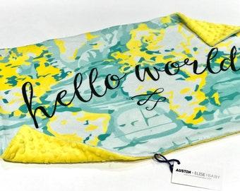 Hello World Yellow Baby Blanket Large Lovey