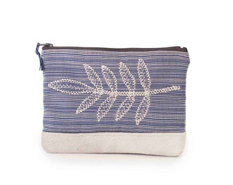 Zipper Pouch In Blue , Vegan Cosmetic Bag , Embroidered Make up bag ,Blue And Beige Cosmetic Case , Blue Purse ,Pencil case,Toiletry Bag
