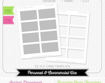 3.5 x 2 Card Template - INSTANT DOWNLOAD - PRINTABLE - diy party printables