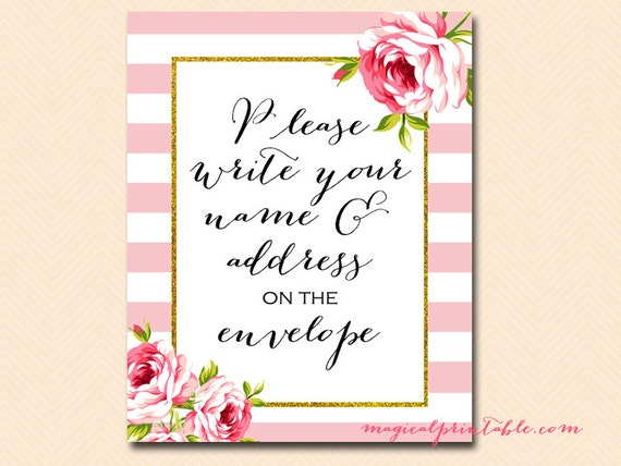 Gold Write Your Name And Address On Envelope Sign Thank You