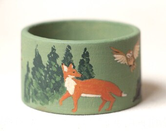 Forest animals - wood, hand painted napkin