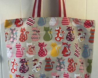 Large Cute Cats Tote Bag