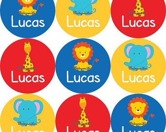 Personalized Waterproof Labels Waterproof Stickers Name Label Dishwasher Safe Daycare Label School Label Baby Label - Safari Animals