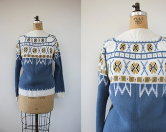 SALE // vintage 1970s sweater / 70s icy blue ski sweater / 70s nordic sweater / 70s pullover sweater / 70s JC Penny se]weater / plus size XL