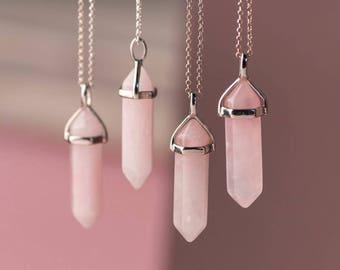 Rose Quartz Pendulum, Rose Quartz Pendant, Rose Quartz Necklace w/ Reiki / Healing Jewelry