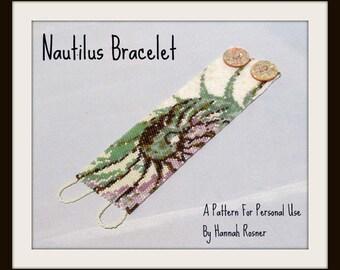 Bead Pattern Nautilus Shell Beaded Bracelet peyote stitch tutorial instructions