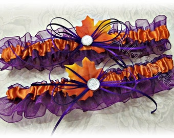 Fall Leaves wedding bridal leg garter set -grape purple plum and burnt orange - fall wedding bridal garter belt.