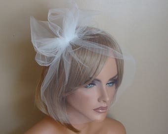 White Bridal Tulle Birdcage Veil with  Bow by Susan Carol Bridal