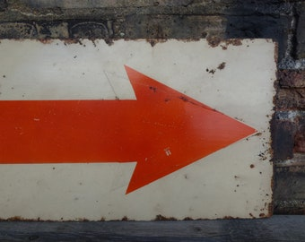 Vintage arrow sign painted directional pointing double sided Industrial salvage home shop office signage 21 inch