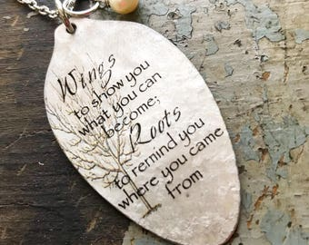 Wings to show you what you can become; Roots to remind you where you came from Necklace, Graduation Gift, Going Away Present, Goodbye Gift